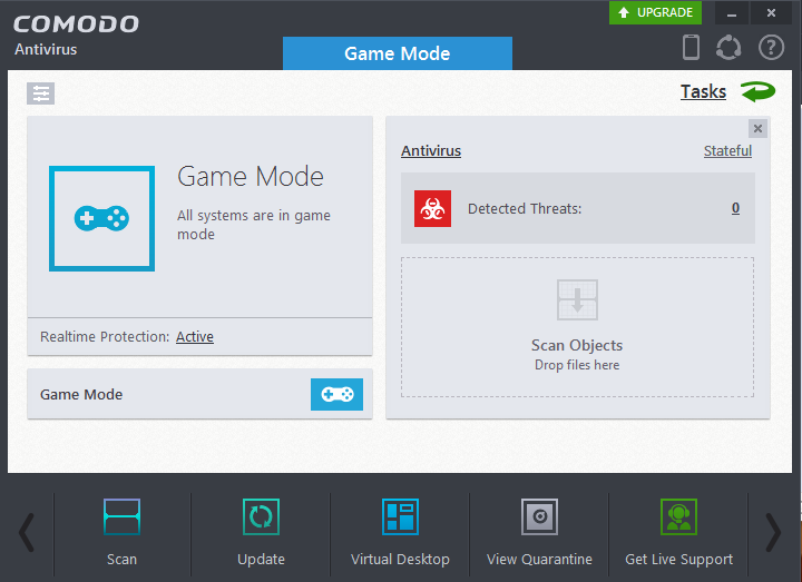 screenshot of Comodo antivirus game mode